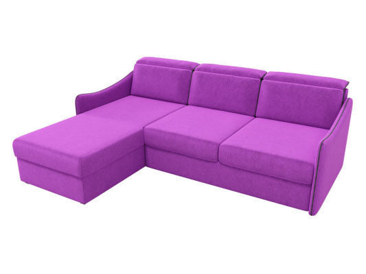 Диван ЛигаДиванов Скарлетт 125 угловой левый 60677 вельвет фиолетовый - фото 2