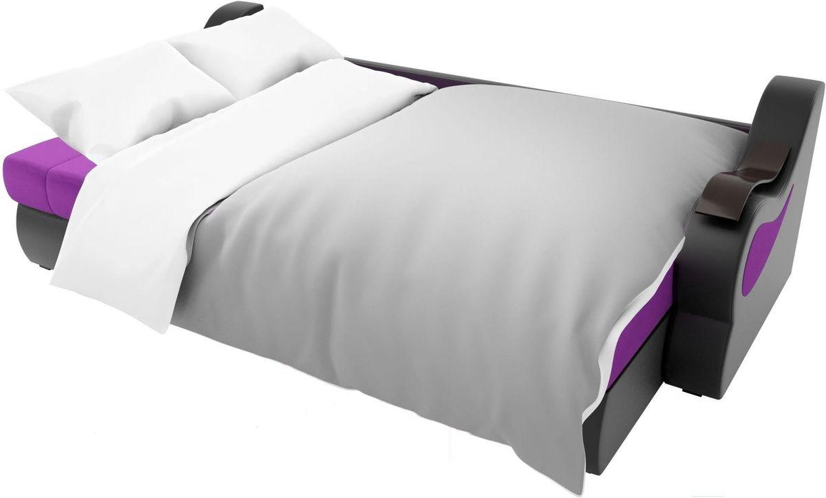 Диван Mebelico Меркурий левый 100366 вельвет фиолетовый/экокожа черный - фото 7