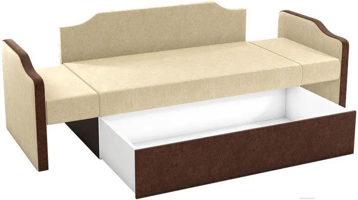 Диван Mebelico Дороти 3 микровельвет бежевый/коричневый - фото 3