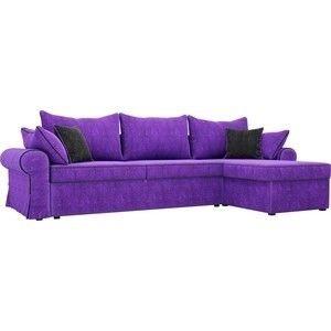Диван ЛигаДиванов Элис 123 угловой правый 60653 велюр фиолетовый, черные подушки - фото 1