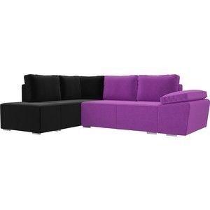 Диван ЛигаДиванов Хавьер левый угол микровельвет фиолетовый/черный - фото 1