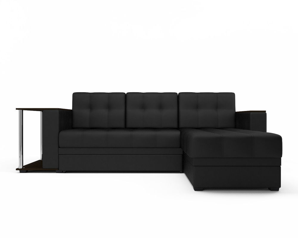 Диван Мебель-АРС Атланта (экокожа черная без полосы) - фото 2