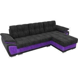 Диван ЛигаДиванов Нэстор угол правый велюр черный вставка фиолетовая - фото 2