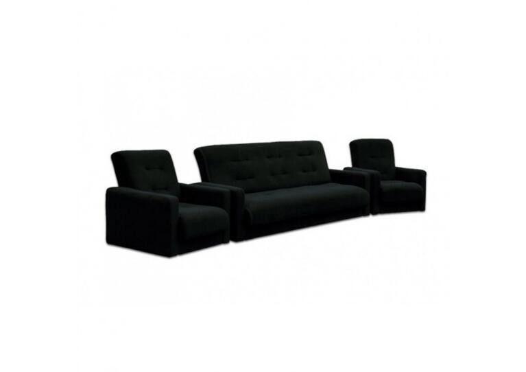 Диван Craftmebel Милан + 2 кресла чёрный - фото 1