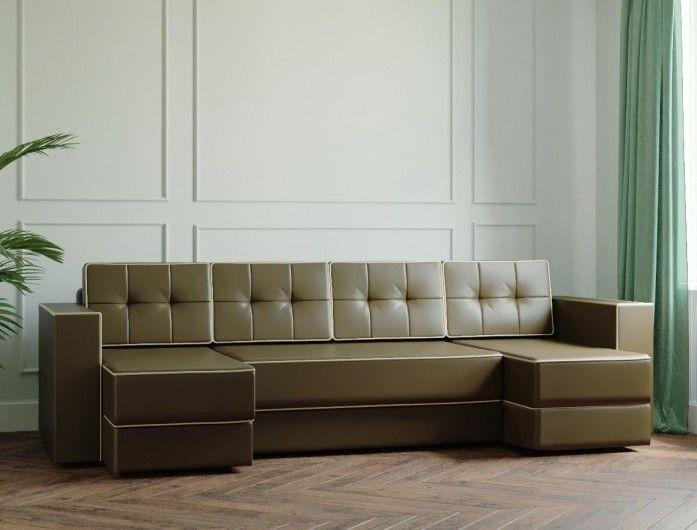 Диван Настоящая мебель Ванкувер Модерн (модель: 00-00000046) экокожа/коричневый - фото 1