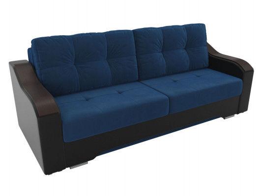 Диван ЛигаДиванов Браун 102165 велюр синий/экокожа черный - фото 2