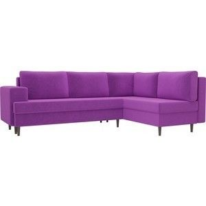 Диван ЛигаДиванов Сильвана угол правый микровельвет фиолетовый - фото 1