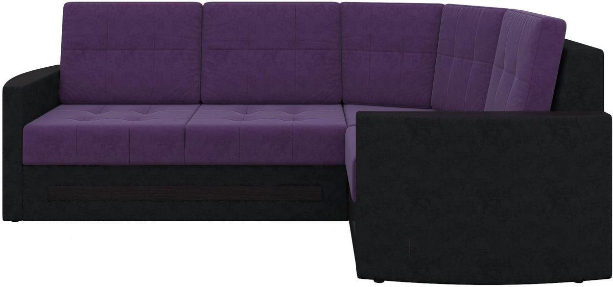 Диван Mebelico Белла У 476 правый вельвет черный/фиолетовый - фото 7