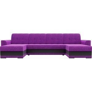 Диван ЛигаДиванов Честер п-образный вельвет фиолетовый вставка экокожа черная - фото 3