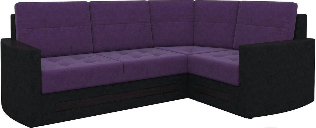Диван Mebelico Белла У 476 правый вельвет черный/фиолетовый - фото 5