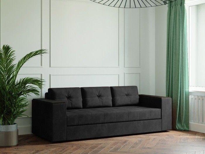 Диван Настоящая мебель Ванкувер Лайт с декором (модель: 00-000034506) чёрный - фото 1