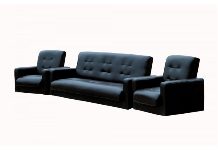 Набор мягкой мебели Луховицкая мебельная фабрика Аккорд черный (диван 120х190 + 2 кресла) - фото 1