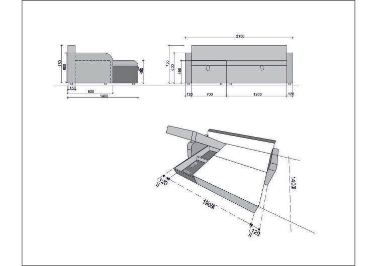 Диван Раевская мебельная фабрика Угловой в ткани Флок серый 00401 - фото 3