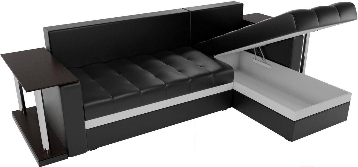 Диван Mebelico Атланта М правый 2 стола экокожа черный - фото 5