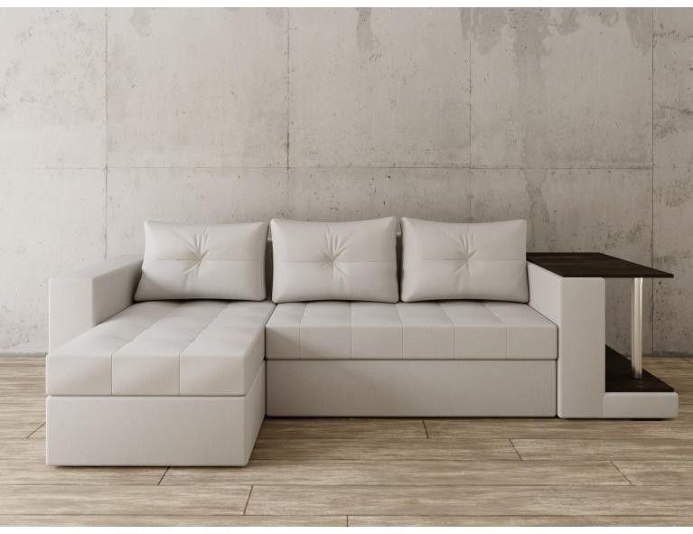 Диван Craftmebel Угловой Константин со столом белая экокожа - фото 1