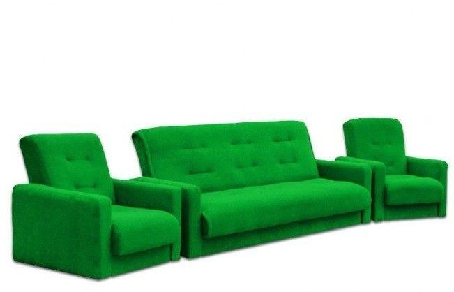 Набор мягкой мебели Луховицкая мебельная фабрика Милан Астра зеленый (диван+2 кресла) 120x190 - фото 1