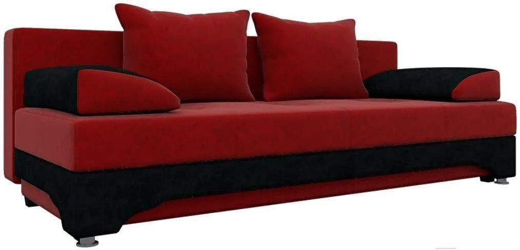 Диван Mebelico Ник-2 486 58357 вельвет красный/черный - фото 1
