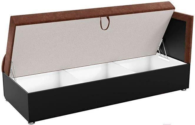 Диван Mebelico Дюна 4 микровельвет коричневый/экокожа черный - фото 2