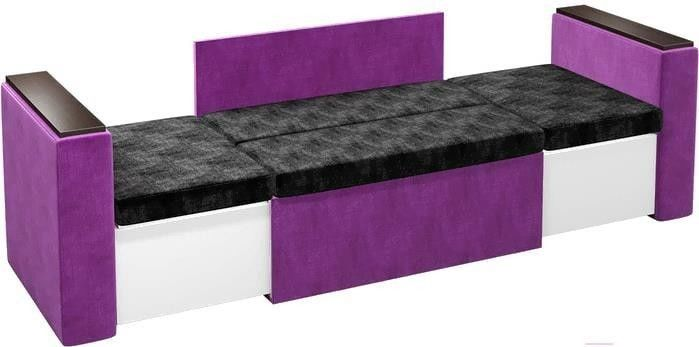 Диван Mebelico Арси 2 микровельвет черный/фиолетовый - фото 2