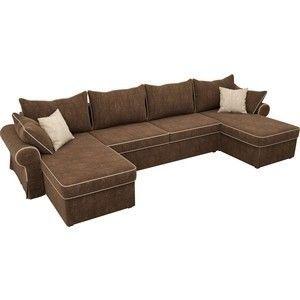 Диван ЛигаДиванов Элис П 124 60664 велюр коричневый бежевые подушки - фото 2