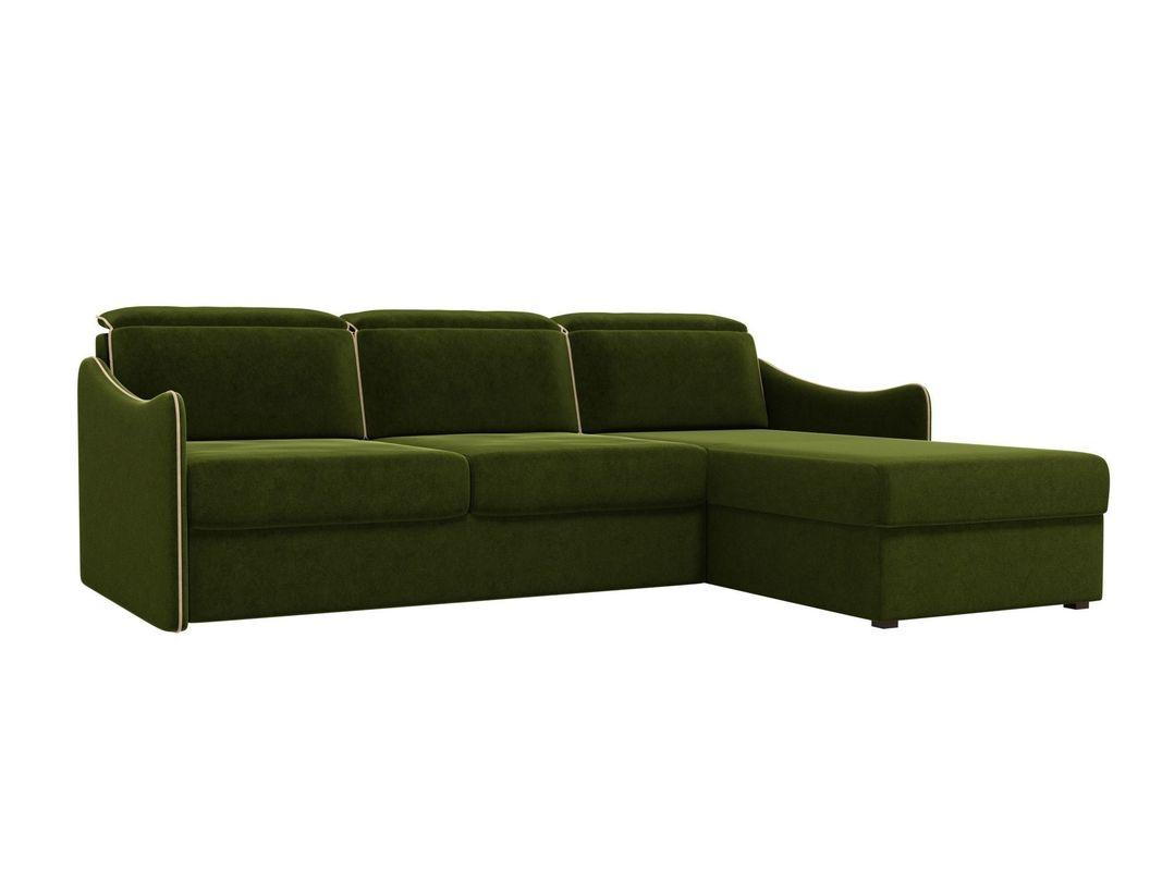 Диван ЛигаДиванов Скарлетт 125 угловой правый 60675 вельвет зеленый - фото 1