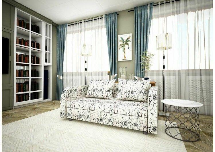 Диван Раевская мебельная фабрика Малыш с подлокотниками Флок Люкс цветы светлый 00642 - фото 1