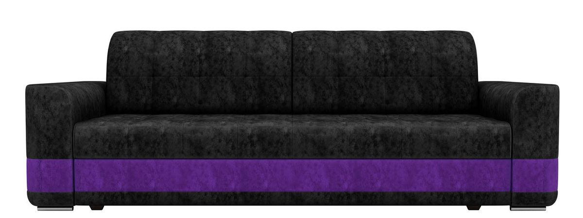 Диван ЛигаДиванов Честер велюр черный вставка фиолетовая - фото 4