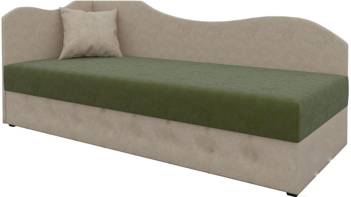 Диван Mebelico 74 левый микровельвет зеленый/бежевый - фото 1