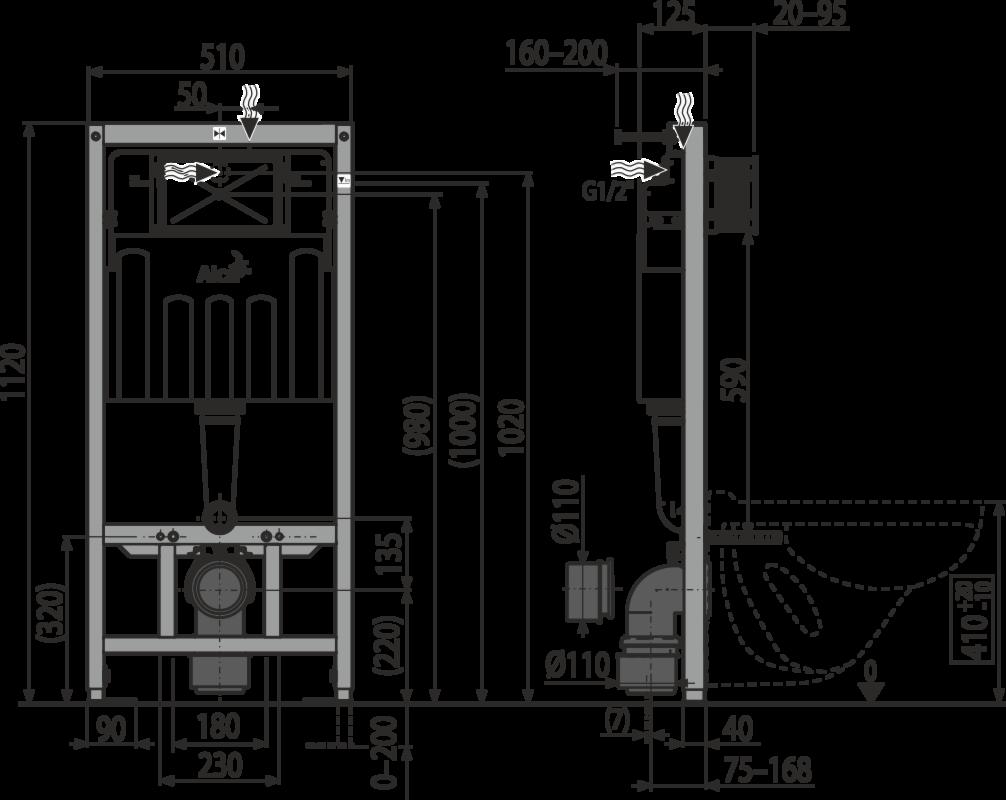 Инсталляция AlcaPlast Set 5v1 AM101/1120+M70+A604+M91 - фото 2