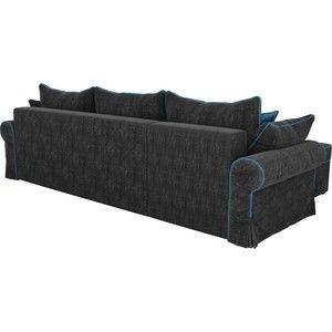 Диван ЛигаДиванов Элис 123 угловой левый 60654 велюр черный, голубые подушки - фото 3