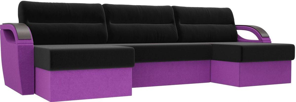 Диван ЛигаДиванов Mebelico Форсайт микровельвет фиолетовый/черный - фото 1