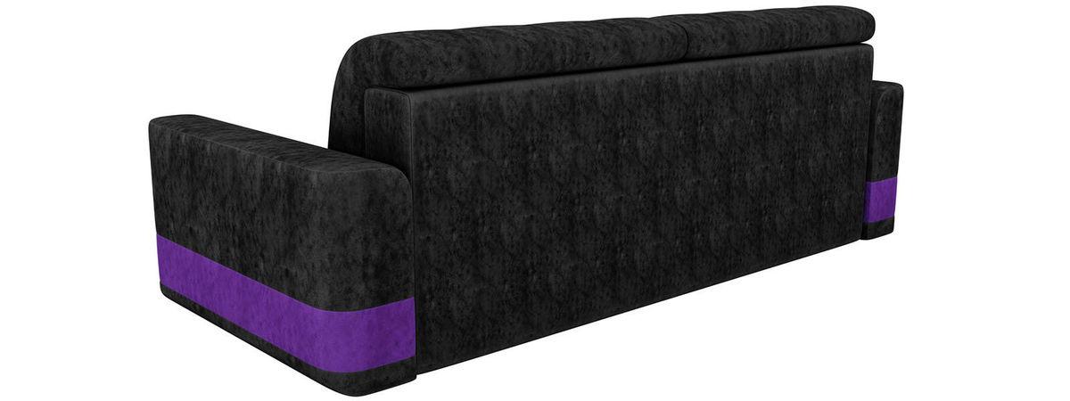 Диван ЛигаДиванов Честер велюр черный вставка фиолетовая - фото 2