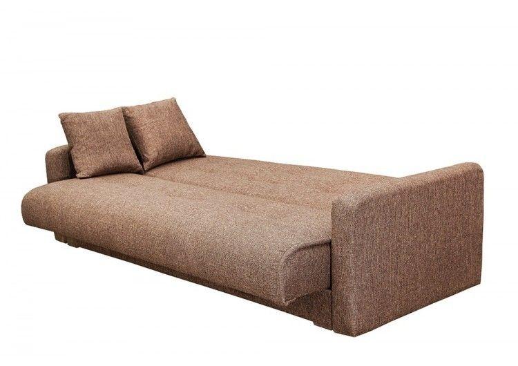 Диван Луховицкая мебельная фабрика Лондон рогожка коричневая (пружинный) 140x190 - фото 2