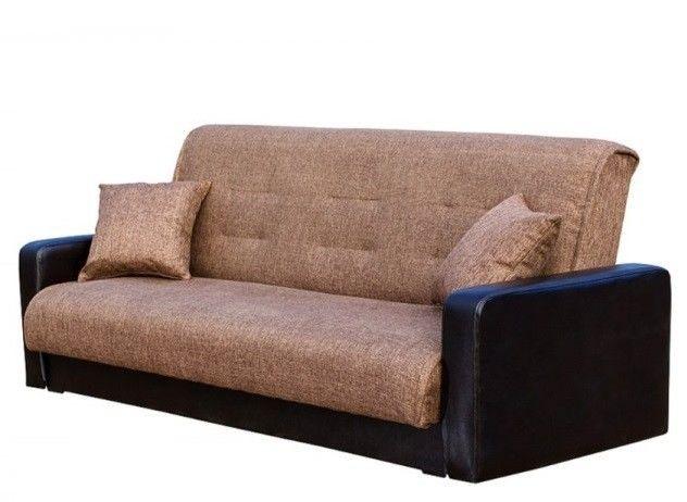 Диван Луховицкая мебельная фабрика Лондон (рогожка коричневая комби) пружинный 120x190 - фото 2