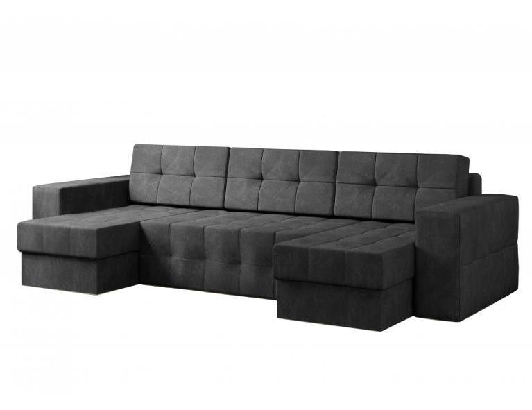 Диван Craftmebel Питсбург П-образный чёрный вельвет - фото 1