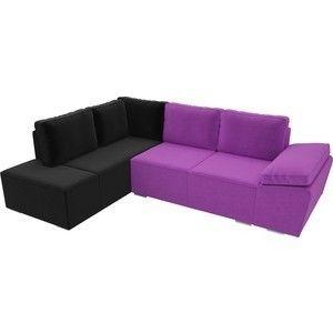 Диван ЛигаДиванов Хавьер левый угол микровельвет фиолетовый/черный - фото 2
