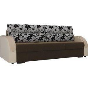 Диван ЛигаДиванов Дарси микровельвет коричневый, подлокотники экокожа бежевые, подушки рогожка на флоке - фото 1