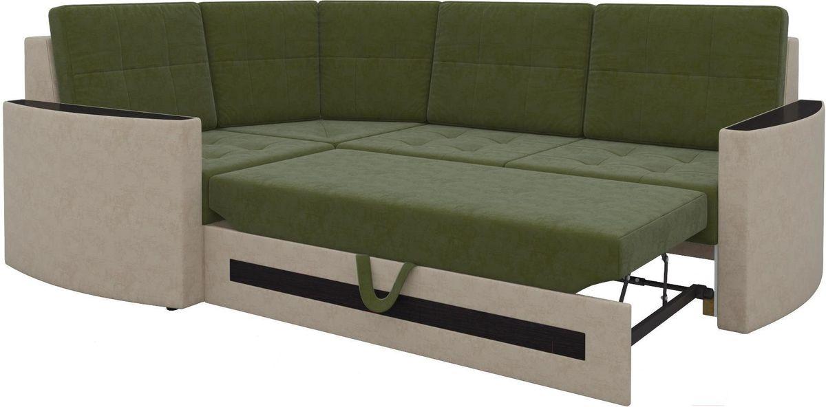 Диван Mebelico Белла У 476 левый вельвет зеленый/бежевый - фото 3