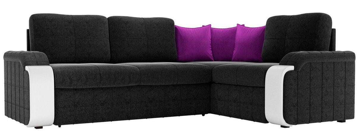 Диван ЛигаДиванов Николь правый микровельвет черный/фиолетовый 60196 - фото 1