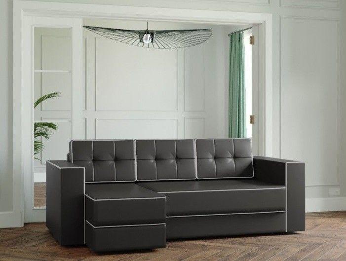 Диван Настоящая мебель Ванкувер Модерн (модель: 00-00000027) экокожа/чёрный - фото 1