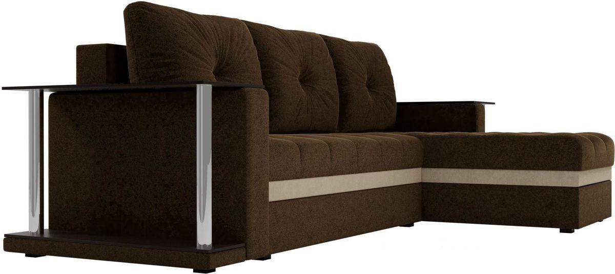 Диван Mebelico Атланта М правый 2 стола вельвет коричневый - фото 3