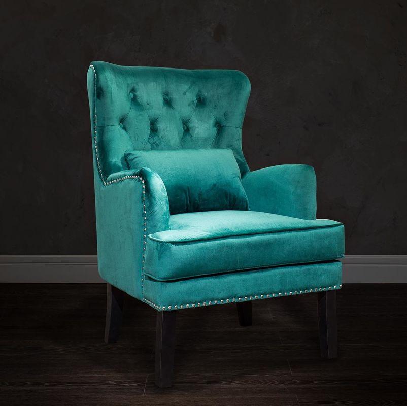 Кресло Garda Decor 24YJ-7004-07342/1 (бархатное зеленое с подушкой) - фото 6