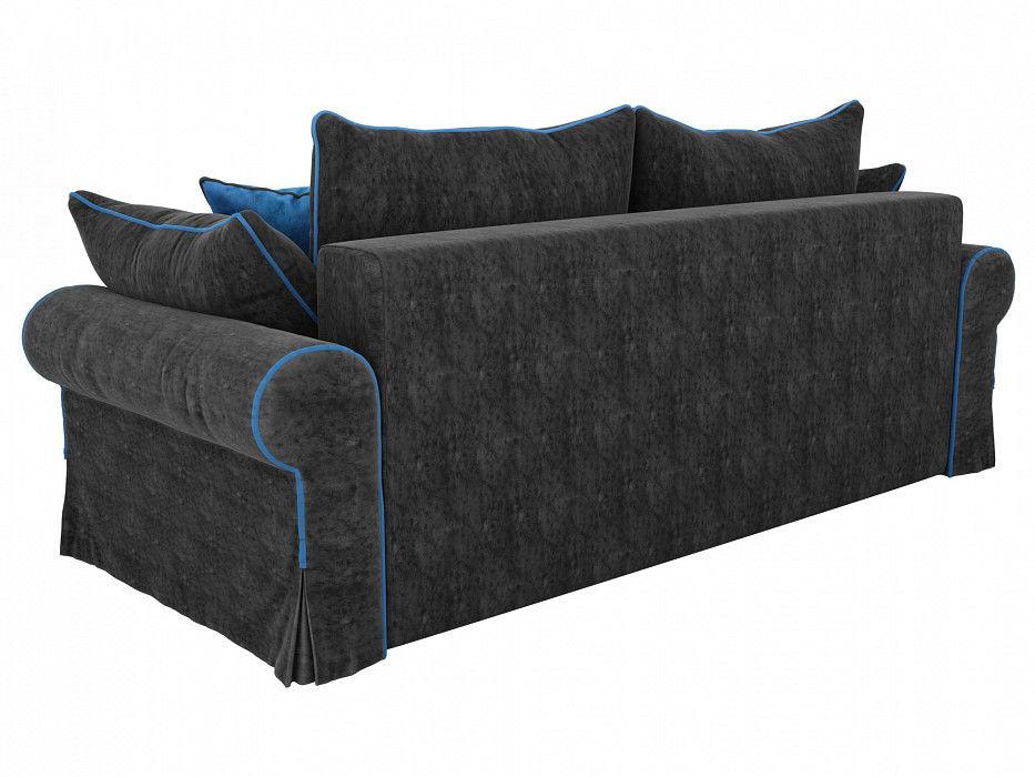 Диван Mebelico прямой Элис Велюр черный\голубой - фото 3