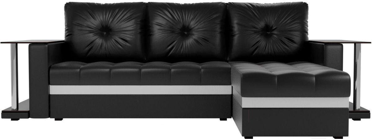 Диван Mebelico Атланта М правый 2 стола экокожа черный - фото 2