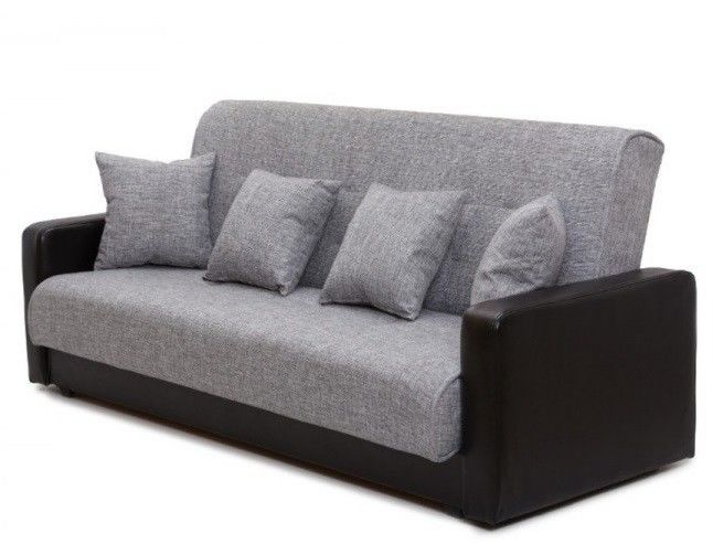 Диван Луховицкая мебельная фабрика Лондон (рогожка серая комби) пружинный 140x190 - фото 3