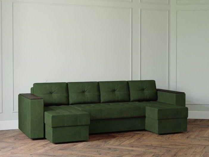 Диван Настоящая мебель Ванкувер Лайт с декором (модель: 0012) зеленый - фото 1