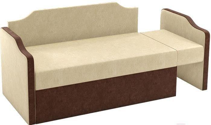 Диван Mebelico Дороти 3 микровельвет бежевый/коричневый - фото 5