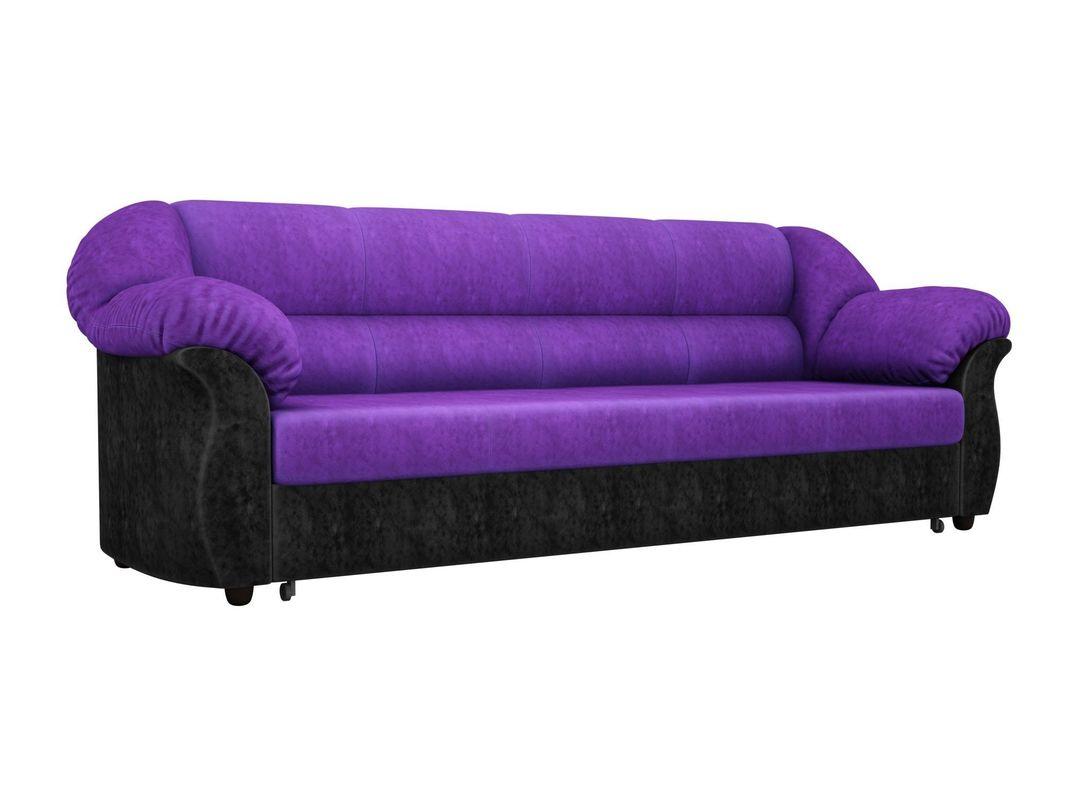 Диван ЛигаДиванов Карнелла 114 60401 велюр фиолетовый/экокожа черный - фото 1
