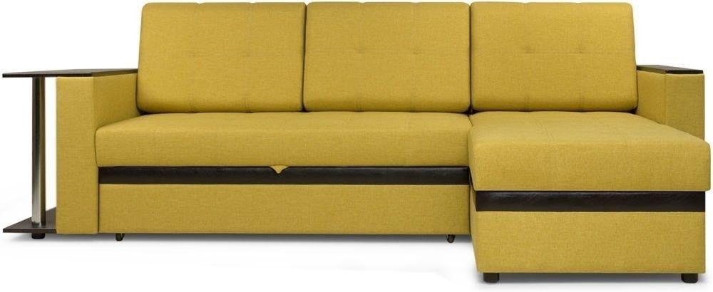 Диван Woodcraft Угловой Атланта Textile Yellow - фото 1