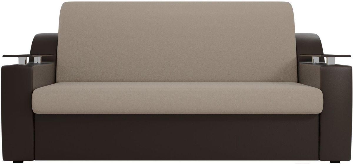 Диван Mebelico Сенатор 100720 160, рогожка бежевый/экокожа коричневый - фото 1